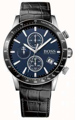 Hugo Boss Mens rafaleブラックレザーストラップブルーダイヤル 1513391