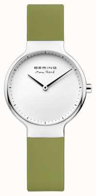 Bering レディースマックスレネ交換可能なグリーンラバーストラップ 15531-800