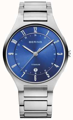 Bering メンズチタングレーストラップブルーダイヤルウォッチ 11739-707