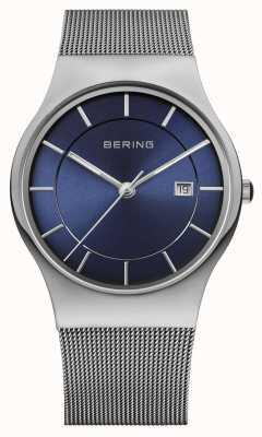 Bering メンズミラノメッシュストラップブルーフェイスウォッチ 11938-003