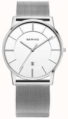 Bering メンズクラシックメッシュストラップホワイトダイヤルウォッチ 13139-000