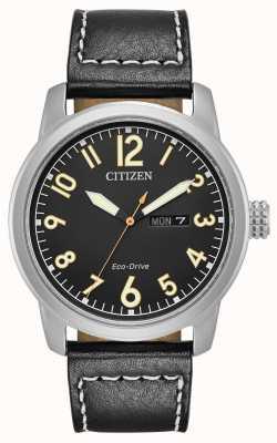 Citizen メンズエコドライブブラックレザーチャンドラー BM8471-01E