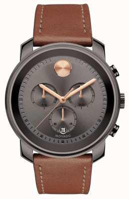Movado 大胆なグレーの文字盤のクロノグラフメンズ腕時計 3600421