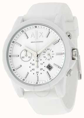 Armani Exchange メンズアクティブホワイトシリコンクロノグラフ AX1325