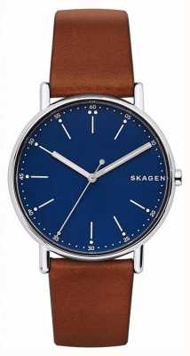 Skagen メンズシグネチャーブラウンレザーストラップブルーダイヤル SKW6355
