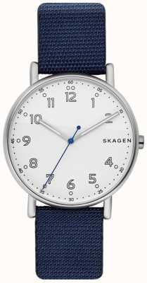 Skagen メンズ署名ブルーストラップホワイトダイヤル SKW6356