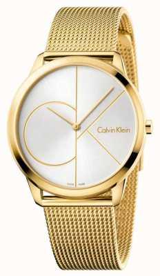 Calvin Klein メンズミニマルウォッチ|ゴールドメッシュステンレスストラップ| K3M21526