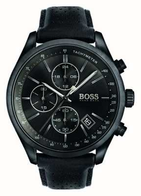 Hugo Boss メンズグランプリクロノグラフブラックレザーストラップブラックダイヤル 1513474