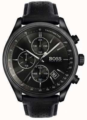 Boss メンズグランプリクロノグラフブラックレザーストラップブラックダイヤル 1513474