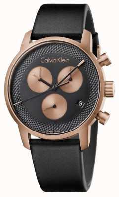 Calvin Klein メンズシティクロノグラフブルーダイヤルブラック元ディスプレイ K2G17TC1 Ex-Display