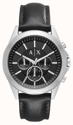 Armani Exchange メンズレザーブラッククロノグラフ AX2604