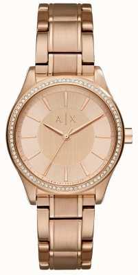 Armani Exchange レディーススチールはゴールドドレス時計をバラ AX5442
