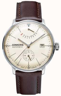 Junkers メンズバウハウス自動ブラウンレザーストラップベージュダイヤル 6060-5