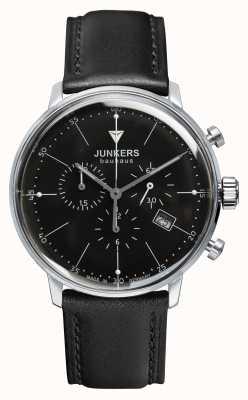 Junkers メンズバウハウスクロノグラフブラックレザーストラップブラックダイヤル 6088-2