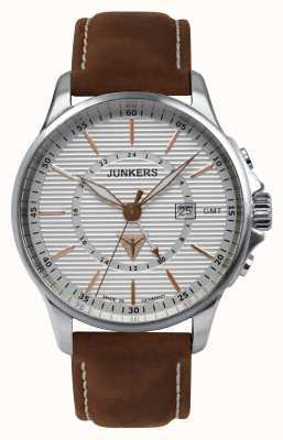 Junkers メンズタンテジュブラウンレザーストラップシルバーダイヤル 6842-4