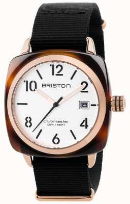 Briston メンズclubmasterクラシックブラックファブリックストラップホワイトダイヤル 17240.PRA.T.2.NB