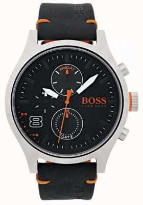 Hugo Boss Orange メンズアムステルダムブラックレザー 1550020