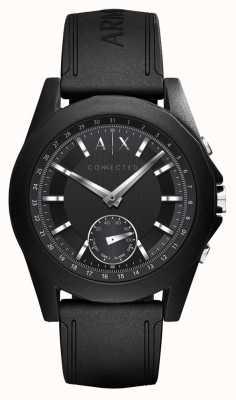 Armani Exchange 接続されたスマートな腕時計ブラックシリコンストラップ AXT1001