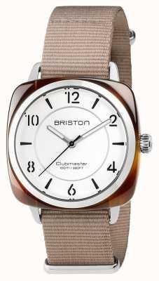 Briston ユニセックスクラブマスターナチュラルストラップ付きシックなベージュアセテートスチール 17536.SA.T.2.NT