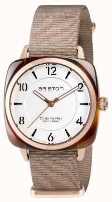 Briston ユニセックスクラブマターシックなベージュアセテートのピンクゴールドバラ 17536.PRA.T.2.NT