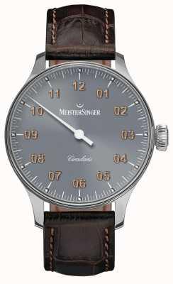 MeisterSinger Mens circularis手巻きサンバーストミディアムグレー CC327G