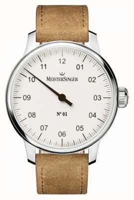 MeisterSinger Mens no。 1本の白いクラシカルな手巻き AM3301