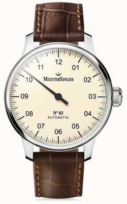 MeisterSinger メンズクラシックノー3自動アイボリー AM903