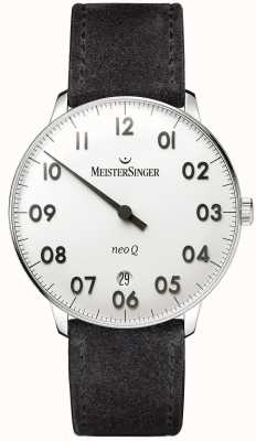 MeisterSinger メンズフォームとスタイルネオqステンレススチールとブラックスエード NQ901N