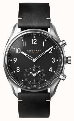 Kronaby 43mmアペックスブルートゥースブラックレザーストラップA1000-1399 S1399/1