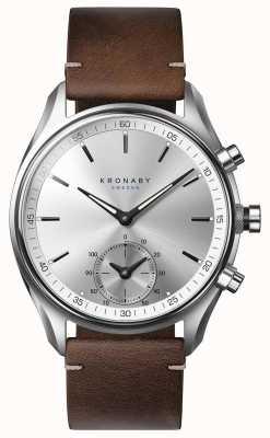 Kronaby 43mmセッケルブルートーンダークブラウンレザースマートウォッチ A1000-0714