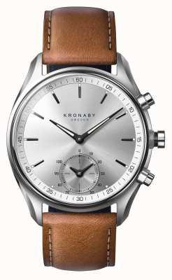 Kronaby 43ミリメートルsekelブルートゥース日焼け茶色革スマートウォッチ A1000-0713