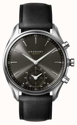 Kronaby 43mmセッケルブルートゥブラックダイヤル/レザーストラップスマートウォッチ A1000-0718