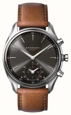 Kronaby 43ミリメートルsekelのブルートゥース茶色の革ブラックダイヤルsmartwatch A1000-0719