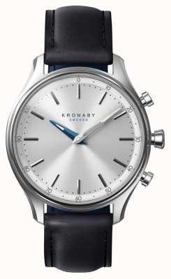 Kronaby 38mmセッケルブルーストーンブラックレザーストラップスマートウォッチ A1000-0657