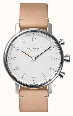 Kronaby 38mmノーブルートゥースベージュレザーストラップスマートウォッチ A1000-0712