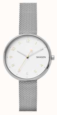 Skagen 女性の署名シルバーステンレススチールメッシュブレスレット SKW2623