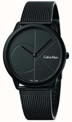 Calvin Klein メンズ最小限のブラックステンレススチールメッシュブレスレット K3M514B1