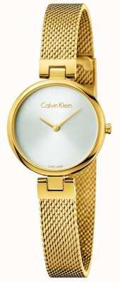 Calvin Klein 女性の本物のpvd金メッキスチールメッシュブレスレット K8G23526