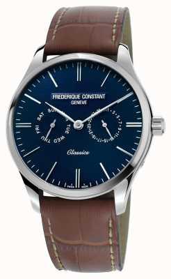 Frederique Constant メンズクラシッククォーツブラウンレザーストラップブルーダイヤル FC-259NT5B6