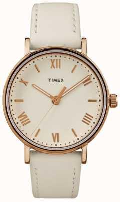Timex 女子サウスビュー37mmクリームダイアルバラゴールドトーンケース TW2R28300