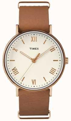 Timex ユニセックスサウスビュー41mmクリームダイアルバラゴールドトーンケース TW2R28800