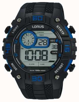 Lorus メンズデジタル時計ブラックとブルー R2353LX9