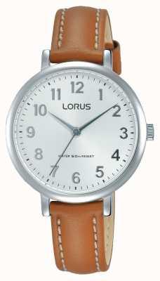 Lorus 女性のソフトなホワイトダイヤルタン革ストラップ RG237MX7