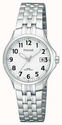 Pulsar レディースステンレススチールブレスレットシンプルなホワイトダイヤル PH7221X1
