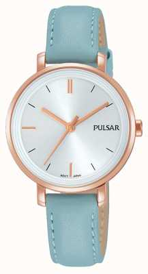 Pulsar レディースパステルブルーレザーストラップシルバーダイヤル PH8344X1