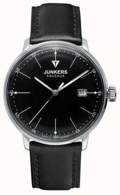 Junkers メンズバウハウスブラックダイヤルブラックレザーストラップ 6070-2