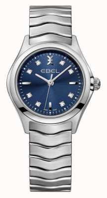 EBEL ウェーブレディースブルーダイヤルステンレススチール腕時計 1216315