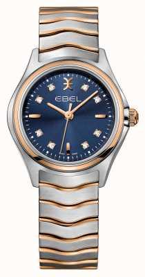 EBEL 波の女性のダイヤモンドは、2トーンのブルーダイヤルの時計を設定します。 1216379