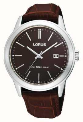 Lorus メンズブラウンレザーストラップウォッチ38m RH925BX9