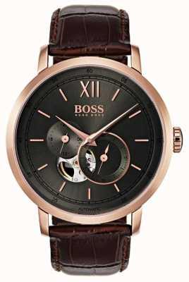 Boss メンズシグネチャーオートマティックブラウンレザーウォッチ 1513506